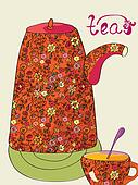 Tea card with pot and cup