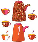 Tea pots and cups with pattern