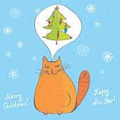 Christmas cat with fir tree card