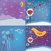 Christmas background set with birds and snow