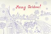 Retro christmas card with town and snow