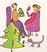 Christmas tree for cat funny cartoon