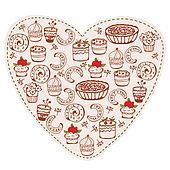 Heart sweets funny doodle cartoon