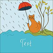 Card with a cat in the rain