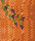 Brick wall with grape vine