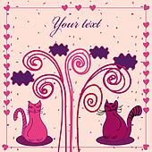 Cute card with cats in love