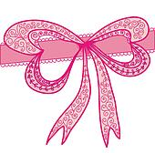 Decorational pink bow with swirl pattern