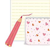 Funny pencil, notebook and paper