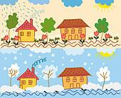 Landscape with houses in different  seasons