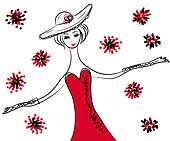 Sketch of retro woman in red dress and hat