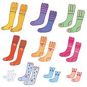 Set of pairs of funny colorful socks