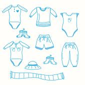 Baby boy garments collection sketch