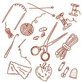 Sewing and knitting doodles set