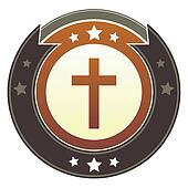 Christian cross imperial button