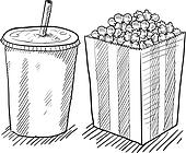 Movie popcorn and soda sketch