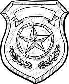 Blank police or firefighter's badge