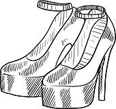 High heeled shoes sketch