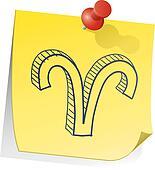 Aries zodiac sticky note