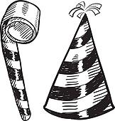 Party hat and noisemaker sketch