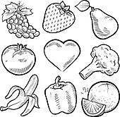 Healthy fruit and vegetables sketch