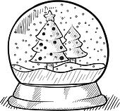 Christmas tree snow globe sketch