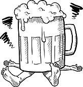 Alcoholism or hangover sketch