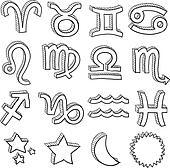 Zodiac astrology symbol sketch