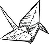 Origami bird sketch