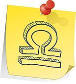 Libra zodiac sticky note