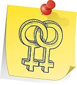 Lesbian gender symbol sticky note
