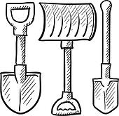 Shovel assortment vector sketch