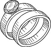 Wedding and engagement ring sketch