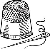 Thimble and needle sketch