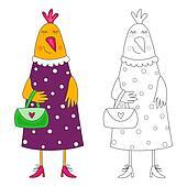 Hen. Coloring book