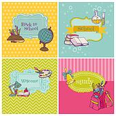 Card Collection - Back to School - for design and scrapbook in vector