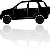 A silhouette of a car