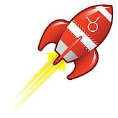 Taurus zodiac on retro rocket