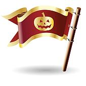 Halloween icon on royal flag