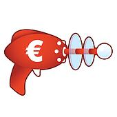 Euro currency on retro raygun