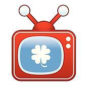 Clover icon on retro television