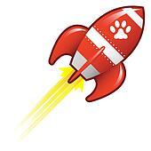 Pet paw on retro rocket
