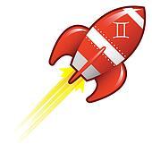 Gemini zodiac on retro rocket
