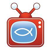 Jesus fish on retro television