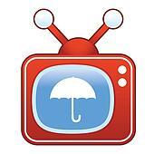 Umbrella icon on retro television