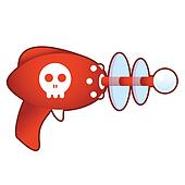 Skull icon on retro raygun