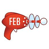 February icon on retro raygun