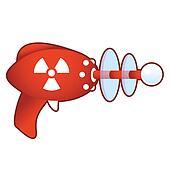 Radiation icon on retro raygun