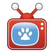 Paw print on retro television