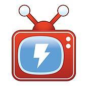 Lightning bolt on retro television