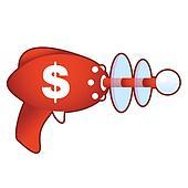 Dollar sign on retro raygun